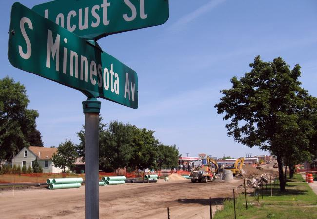 The corner of Minnesota Avenue and Locust Street in St. Peter. The road construction project along Minnesota Avenue is funded by federal stimulus money.