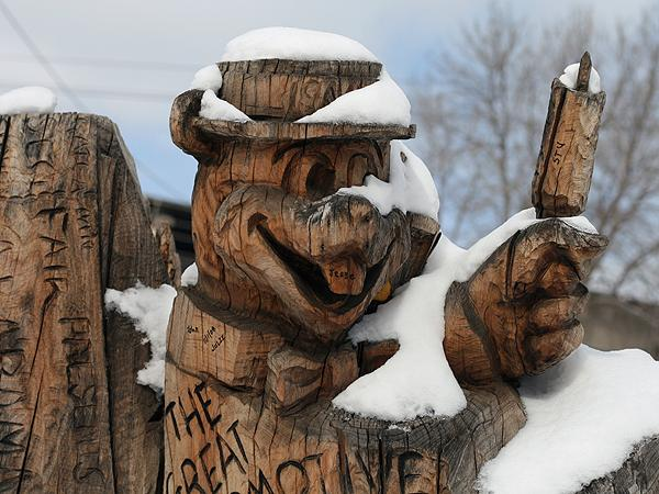 Wood carving in the winter.