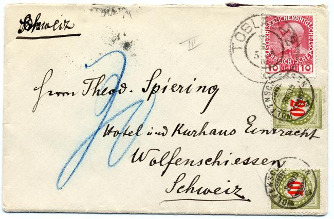 Colorfully stamped envelope containing a letter from Gustav Mahler.