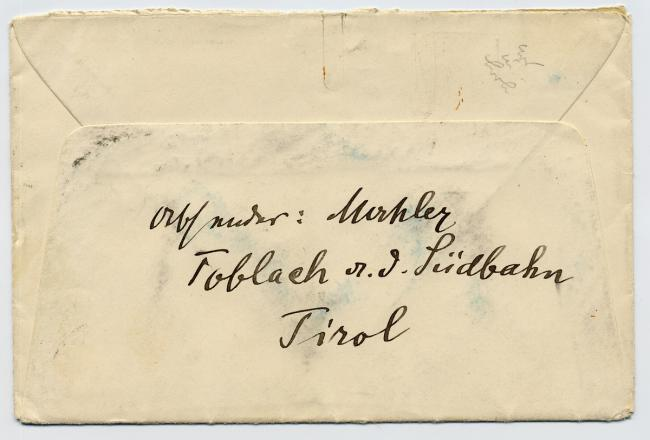 An envelope handwritten by Mahler from Southern Austria.