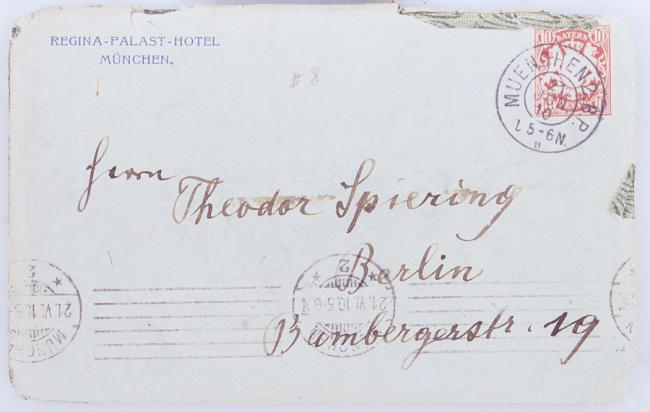 Mahler writes his new concertmaster Theodore Spiering in Berlin