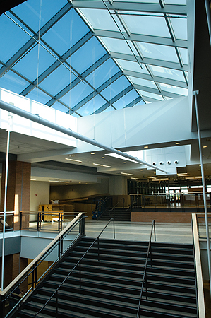 This skylight brings in natural light over Farmington High School's central stairway.