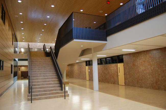 A stairwell near the library in the new Chanhassen High School.  The school will only house 9th, 10th and 11th graders this year to allow the district's current seniors to graduate together at Chaska High School.