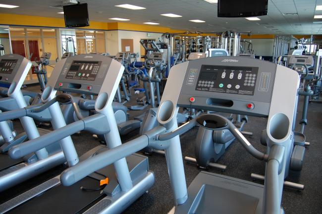 This fitness room at the new St. Michael-Albertville High School will also be available to the community during non-school hours.  A nearby fieldhouse will also be available to for public use.  The equipment in this room was paid for, in part, with a donation from Matt Spaeth -- an STMA alum who now plays for the Pittsburgh Steelers.