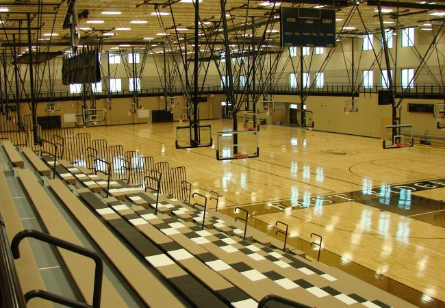 The gymnasium at the new East Ridge High School in Woodbury, Minn.  The school will only house 9th, 10th and 11th graders during its first year.