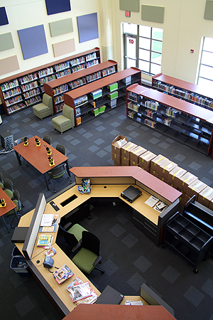 The media center (library) at the new George W. Gibbs Elementary School in Rochester