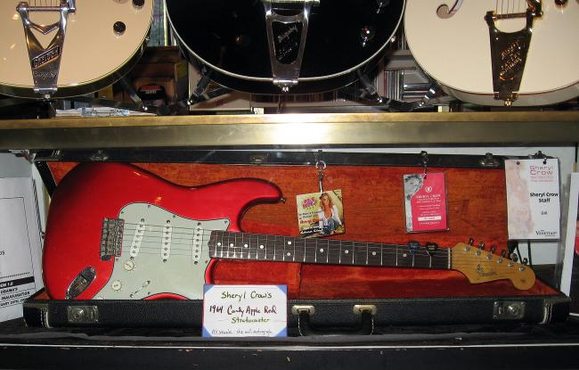Nate is selling this '64 Stratocaster for singer Sheryl Crow. It's finsihed in the custom color candy apple red. Sheryl Crow has been doing business with Willie's since she was a young up-and-coming artist.