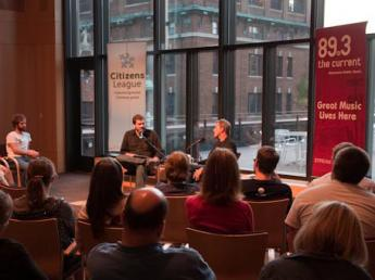 Steve Seel and Colin Beavan in the UBS Forum presenting Policy and a Pint: No Impact Man