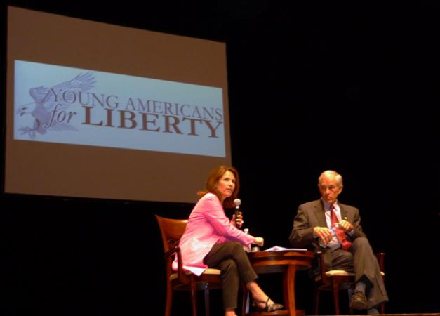 Reps. Michele Bachmann and Ron Paul speak at a rally at the University of Minnesota on Friday, Sept. 25, 2009.