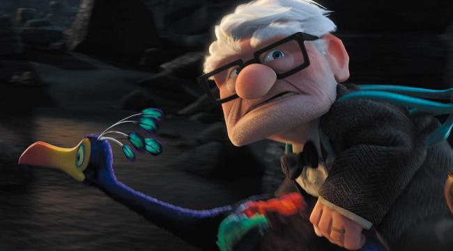 "Carl Fredricksen, voiced by veteran actor Ed Asner, in a scene from the Disney/Pixar animated film ""Up."""
