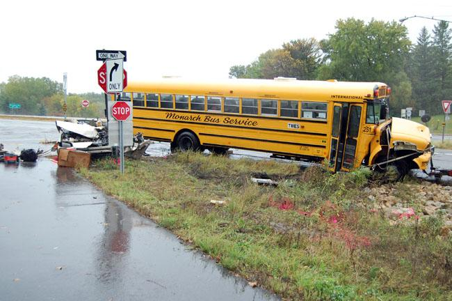 This crash between a bus and car happened at the intersection of Highway 110 and Charlton Street, in West St. Paul.  The students on the bus are from the Tarek ibn Ziyad Academy in Inver Grove Heights.