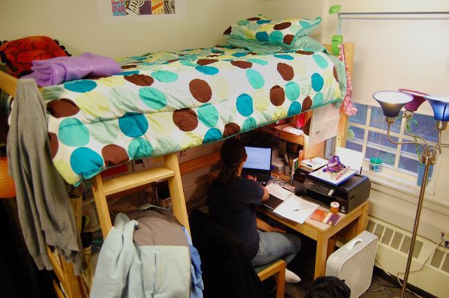 dorm room studying