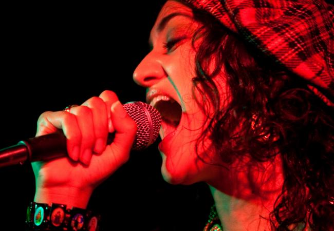 Maria Isa belts out tunes during a recent performance at the Uptown Bar and Cafe.