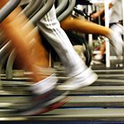 People run on treadmills at a New York Sports Club