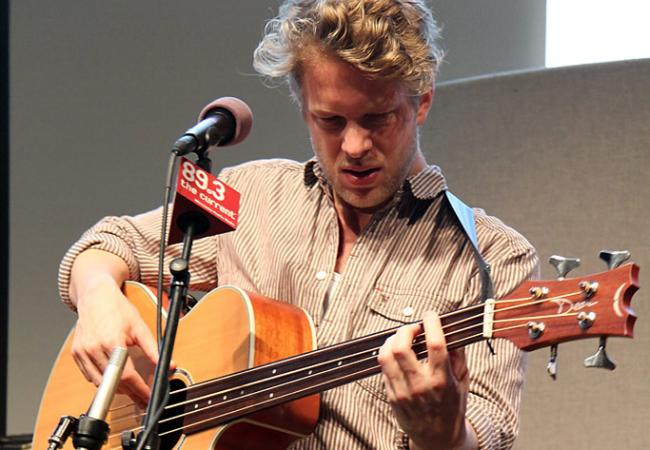 Ted Dwane of Mumford and Sons live in the UBS Forum