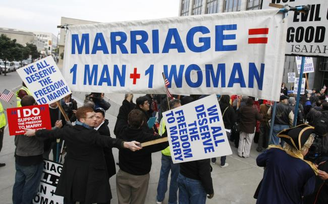 Photo: #Demonstrators for and against same-sex marriage protest during a ...