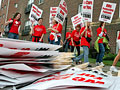 Nurses and picket signs