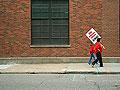 Walking to the strike