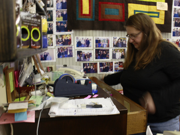 Lucy Senstad owns the quilt store with her husband Don. The concerts they hold at the shop are popular among area folk and blues fans.