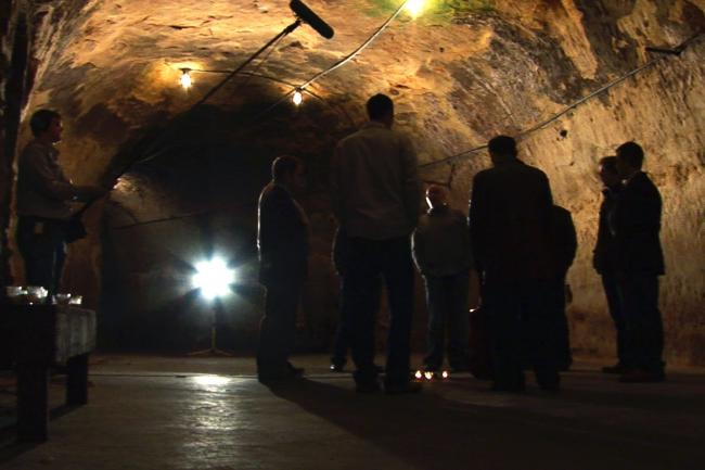 Recording Cantus singing in the Wabasha Street Caves.