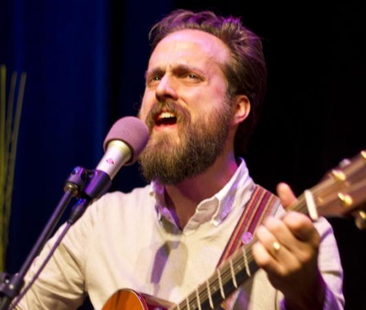 Same Beam, who performs as Iron & Wine, in The Current studio.
