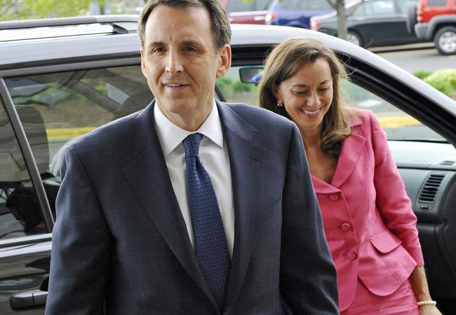 Former Minnesota Gov. Tim Pawlenty arrives with his wife Mary for a fundraising dinner in a file photo from Wednesday, May 18, 2011 in Minneapolis.