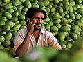 An Indian farmer on a cellphone