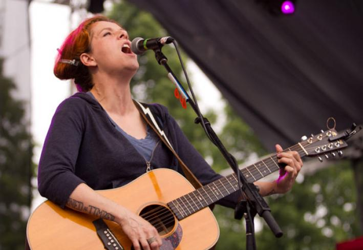 Neko Case playing at Rock the Garden in 2011.