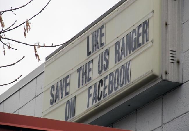 A sign on the marquee at the United Auto Workers Local 879 hall asks for support for the workers. The UAW hall is located just across the street from the Ford Assembly Plant in St. Paul, Minn.