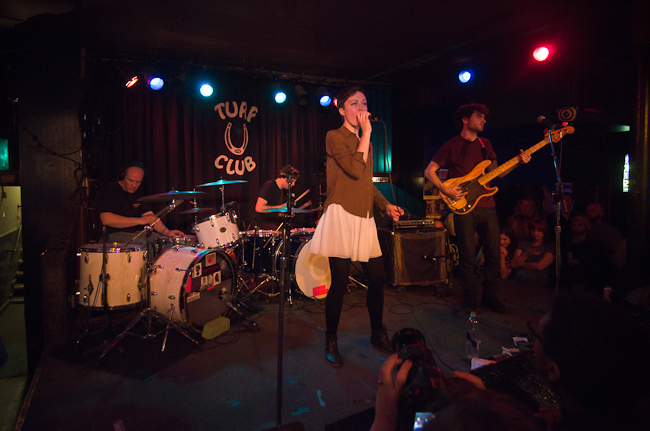 Local band Polica during their set at the Turf Club.