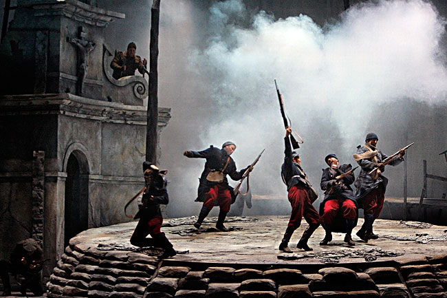 "A battle scene in the Minnesota Opera production ""Silent Night."""