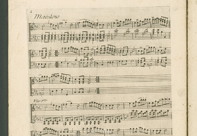 The first part of Beethoven's first published work, 9 Variations on a March by Dressler (WoO 63). This is the first edition publication. This piece was composed in 1782 when Beethoven was 12. (Courtesy of the IMSLP/Petrucci Music Library)