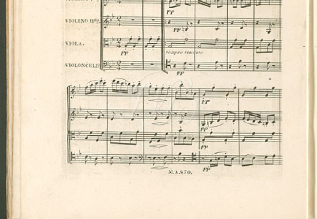 Replacement Finale for Beethoven's String Quartet, Op. 130, first edition. Probably the last work Beethoven completed, it replaced the Grosse Fuge which the publishers thought too long and complicated. (Courtesy of the IMSLP/Petrucci Music Library)