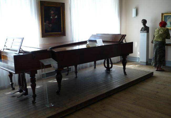 Beethoven's pianos in the Beethoven-Haus in Bonn. (Courtesy of the Wikimedia Foundation)