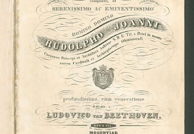 Cover Page for the first edition of Beethoven's Missa Solemnis (1819-1823). One of his late works, it presents many instances of older forms which Beethoven was studying at the time, such as fugue. (Courtesy of the IMSLP/Petrucci Music Library)