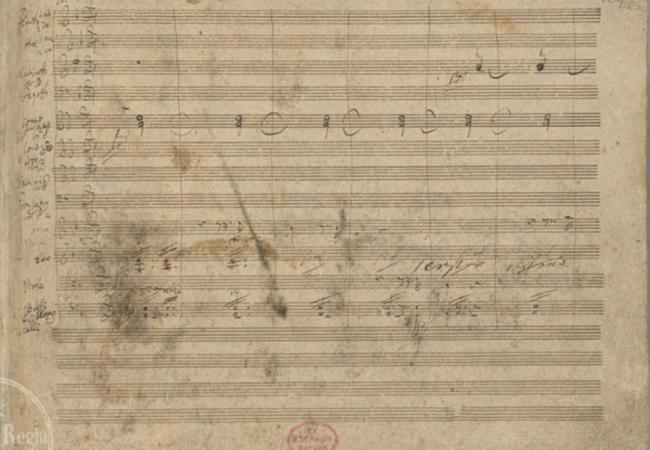 First page of Beethoven's manuscript for the 9th Symphony. Still one of Beethoven's best known and loved masterworks. (Courtesy of the IMSLP/Petrucci Music Library)