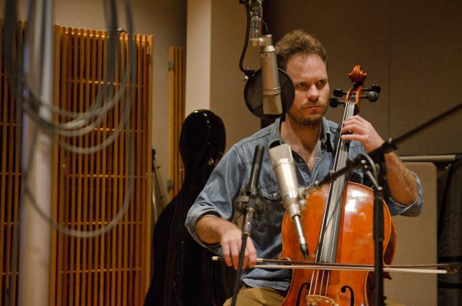 Daniel Benson on cello performs with Diego Garcia in The Current studio.