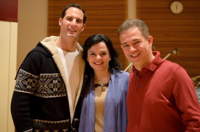 Tenor James Valenti, mezzo-soprano Roxana Constantinescu, and conductor Christoph Campestrini (MPR Photo/Nate Ryan)