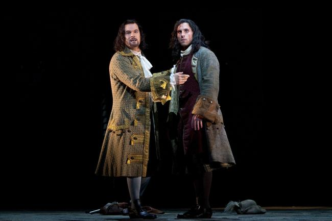 "Gerald Finley as the title character and Kyle Ketelsen as Leporello in Mozart's ""Don Giovanni."" (Marty Sohl/Metropolitan Opera)"