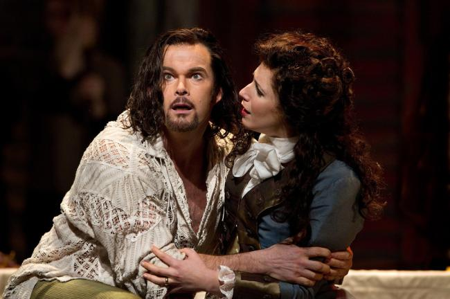 "Gerald Finley as the title character and Ellie Dehn as Donna Elvira in Mozart's ""Don Giovanni."" (Marty Sohl/Metropolitan Opera)"