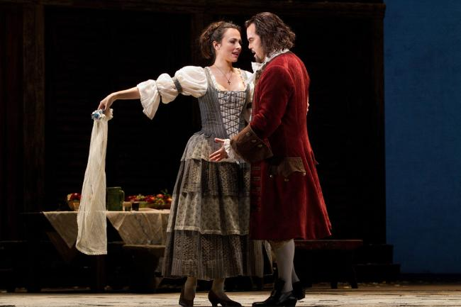 "Isabel Leonard as Zerlina and Gerald Finley as the title character in Mozart's ""Don Giovanni."" (Marty Sohl/Metropolitan Opera)"