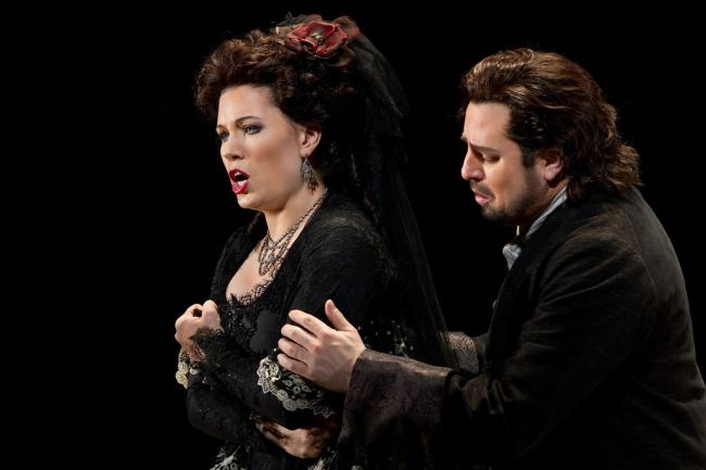 "Marina Rebeka as Donna Anna and Matthew Polenzani as Don Ottavio in Mozart's ""Don Giovanni."" (Marty Sohl/Metropolitan Opera)"