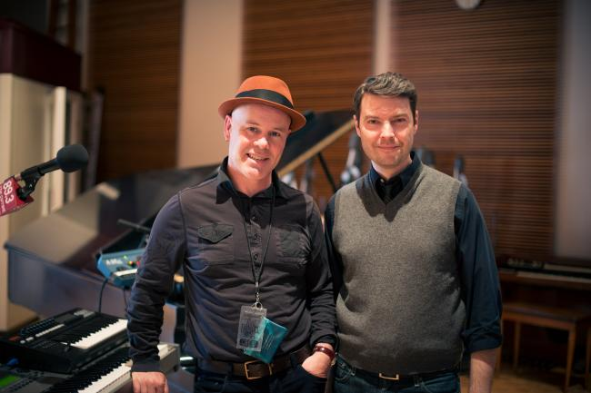 Thomas Dolby and Transmission host Jake Rudh.