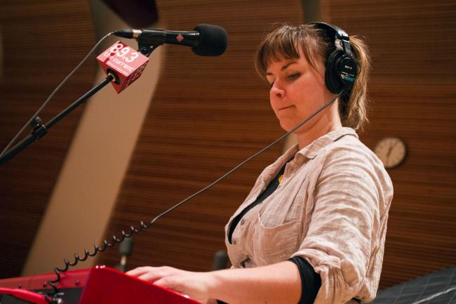 Linnea Mohn of A. Wolf and Her Claws performs in The Current studios