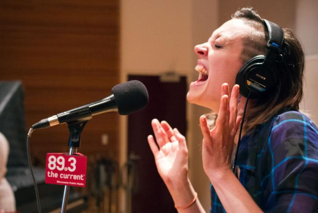 Aby Wolf of A. Wolf and Her Claws performs in The Current studios