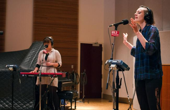 Aby Wolf and Linnea Mohn of A. Wolf and Her Claws performs in The Current studios
