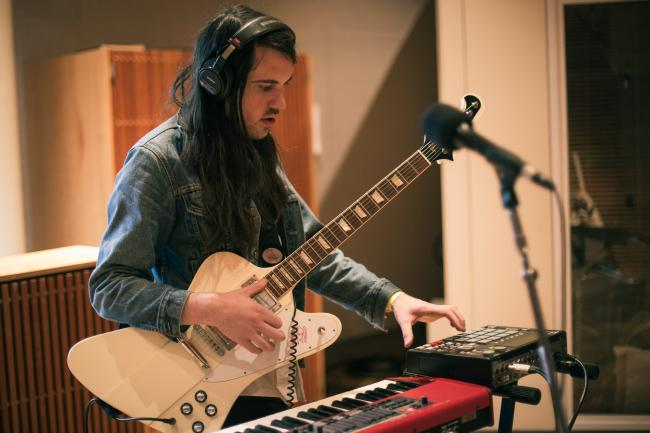 Brian Oblivion of Cults performs in The Current studios