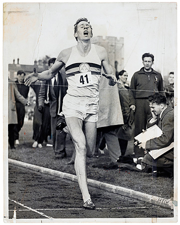 "Roger Bannister breaking the four-minute mile. Photo-journalistic sports images which transcend the day's news are included in ""The Sports Show."""