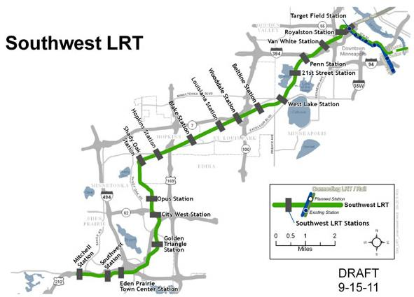 Southwest Light Rail Decade Into Planning Keeps Hitting