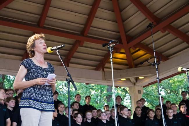 Alison Young hosts Harmony in the Park 2012 (MPR / Eamon Coyne)